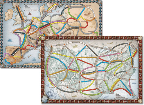 Ticket to Ride: Europe and North America Maps