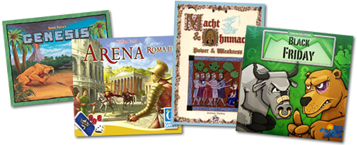 Board game boxes: Genesis, Arena, Power & Weakness, Black Friday