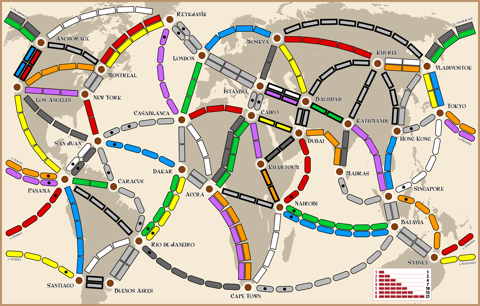 Ticket to Ride: Around the World - Map 7