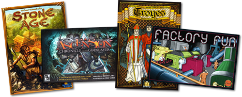 Board games: Stone Age, Ascension, Troyes, Factory Fun