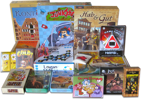 Kontor, Junkyard Races, Hab & Gut, Mozaika, Carcassonne: Das Gelfoge, Logan Stones, Carcassonnne: Die Schule, Deukalion, DGT Pyramid, Gold!, Medievalia, Tatort Themse, Circus Maximus, On The Cards, Mr Jack Pocket: Goodies, Die Pyramide des Krimsutep