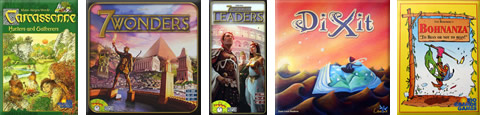Carcassonne: Hunters and Gatherers, 7 Wonders, 7 Wonders: Leaders, Dixit, Bohnanza